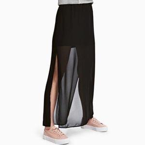 H&M Black Maxi Skirt with Slits